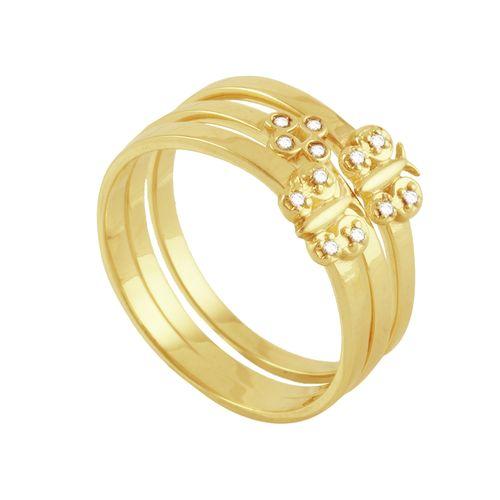 Anel em Ouro 18K Triplo Cruz e Borboletas - AU3795
