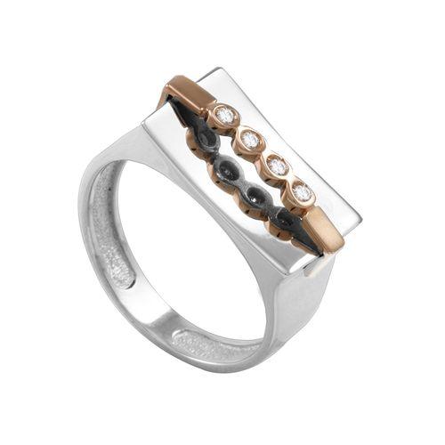 Anel em Ouro Branco 18K Bicolor com Diamantes - AU1610