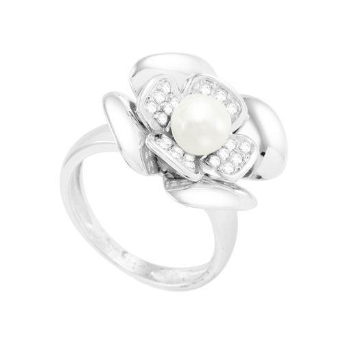 Anel em Ouro Branco 18K Flor com Pérola e Diamante - AU3850