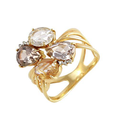 Anel em Ouro, Diamante e Quartzo