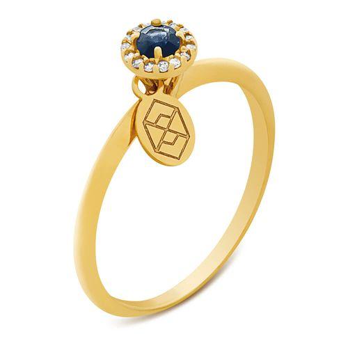 Anel em Ouro, Diamante e Safira