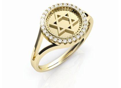 Anel Medalha Estrela de Davi Ouro Amarelo