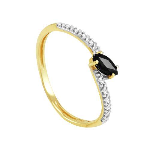 Anel Ouro 18K com Safira e Diamantes - AU2534