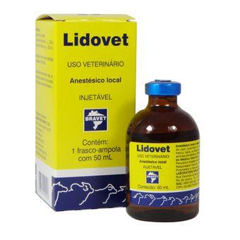 Anestésico Lidovet Sem Vasoconstritor Injetável Bravet 50ml