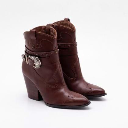Ankle Boot Cravo & Canela Couro Conhaque 35