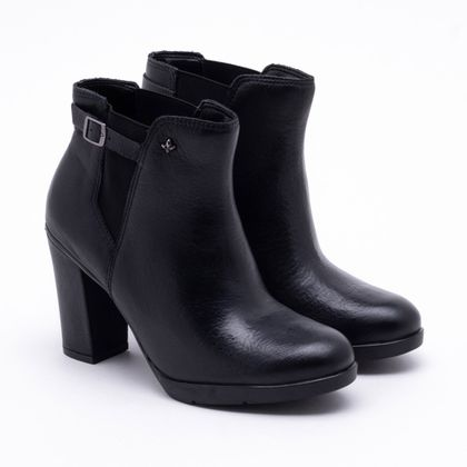 Ankle Boot Cravo & Canela Couro Preta 34