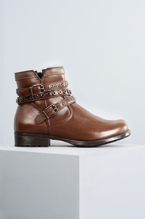 Ankle Boot Salto Baixo Jucy Mundial CR - CAFE 34