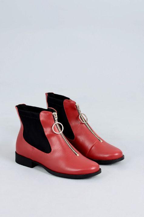 Ankle Boot Salto Baixo Mantz Mundial SINT - VERMELHO 34