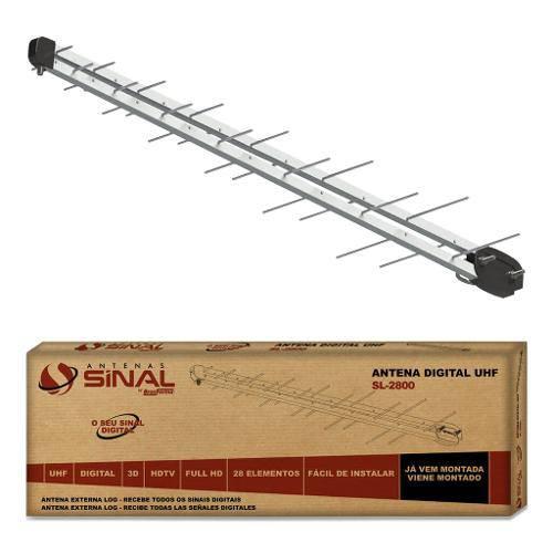 Antena Sl2800 Log 28 Elementos 14 Dbi Hdtv e Uhf Sinal