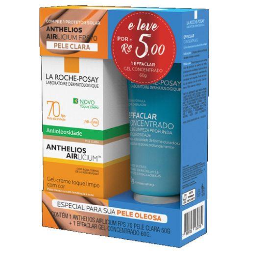 Anthelios Airlicium Fps70 Pele Clara Creme com Cor 50g com R$ 5,00 Leve Effaclar Concentrado Gel de Limpeza 60g