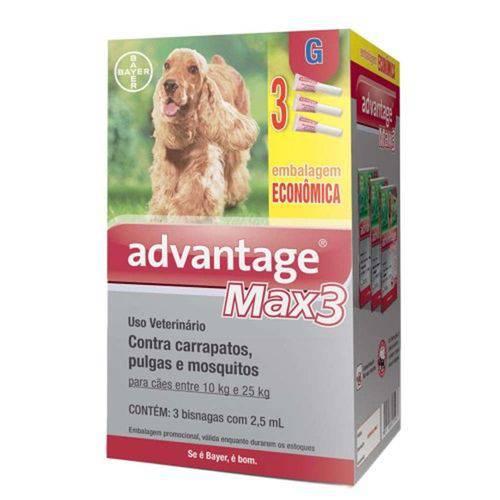 Antipulgas Advantage Max3 Combo G Cães 10 Até 25kg