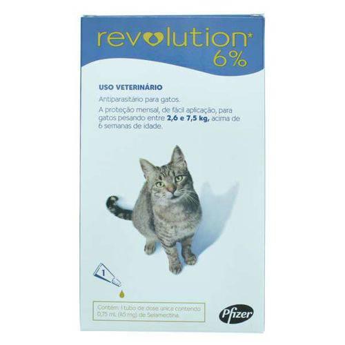 Antipulgas e Carrapatos Revolution Zoetis 6% 0.75ml para Gatos 2,6kg a 7,5kg