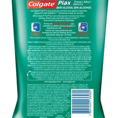 Antisséptico Bucal Colgate Plax Fresh Mint Leve 1000ml Pague 700ml