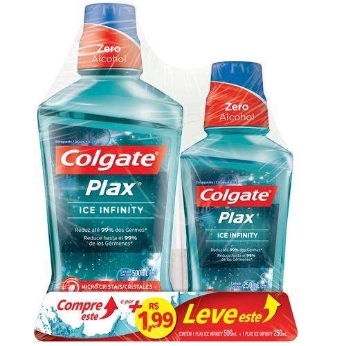 Antisséptico Bucal Plax Ice Infinity Colgate 500ml + 250ml