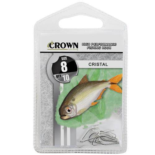 Anzol Crown Cristal para Lambaris e Saicangas Niquel Prata Número 08 Cartela com 10 Unidades