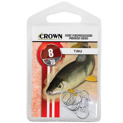Anzol Crown Tinu para Piau ou Piapara Niquel Prata Número 08 Cartela com 10 Unidades