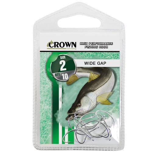 Anzol Crown Wide Gap para Robalo ou Corvina Niquel Prata Número 02 Cartela com 10 Unidades