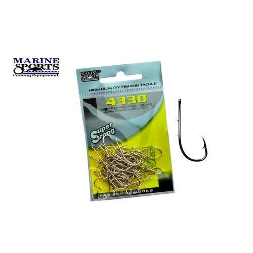 Anzol Marine Sports Super Strong 4330 N° 8 (1,8cm) C/ Farpas - 50 Peças