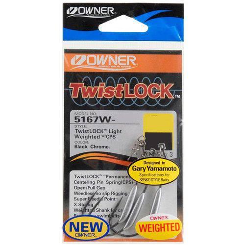 Anzol Owner Weighted Twist Lock Light 5167w 4/0 C/ 3 Unidades