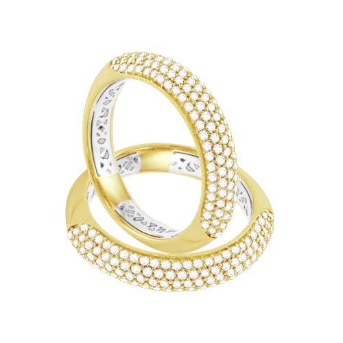 Aparador de Aliança em Ouro 18K Forrado e com Diamantes - AU3785 - 19