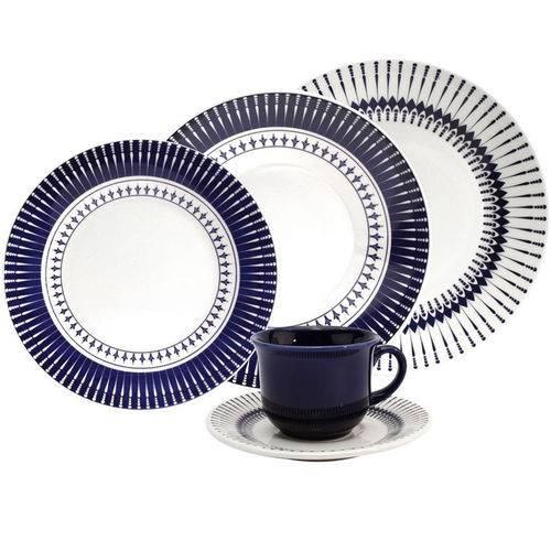Aparelho de Jantar 20 Peças Oxford Coub Biona, Branco/azul
