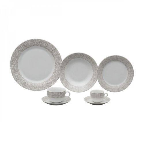Aparelho de Jantar 42 Peças Porcelana Saragoça Wolff Rojemac Branco/Marrom