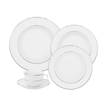 Aparelho de Jantar/Chá 30pçs - Branco - Flamingo - Filete Prata
