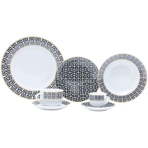 Aparelho de Jantar com 42 Peças em Porcelana Preta Egypt 8201 Lyor