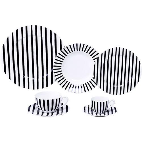 Aparelho de Jantar de Porcelana New Bone 42 Peças Black & White Mail Box
