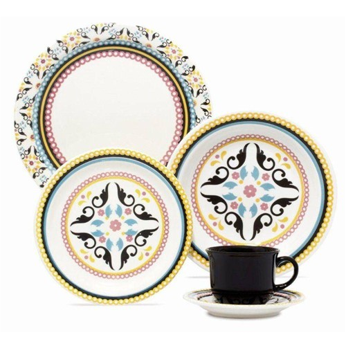 Aparelho de Jantar e Chá Redondo de Cerâmica com 30 Peças Luiza J580 6750 - Oxford