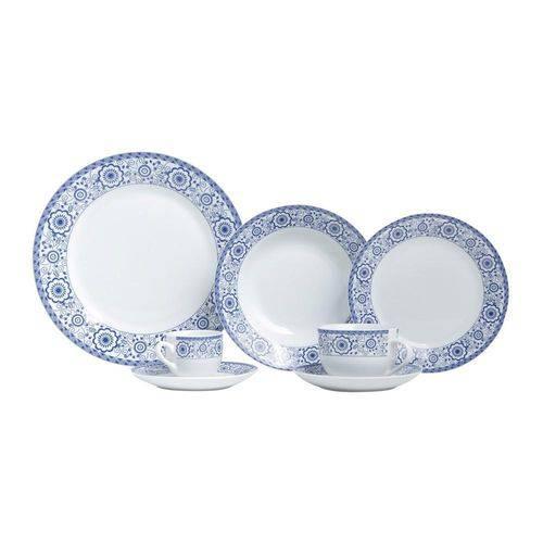 Aparelho de Jantar Super White Sintra 42 Pecas Branco e Azul