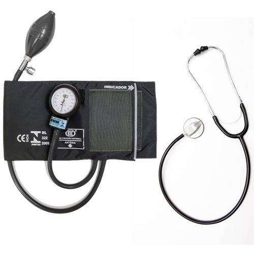 Kit Aparelho de Pressão e Estetoscópio - Preto - BIC