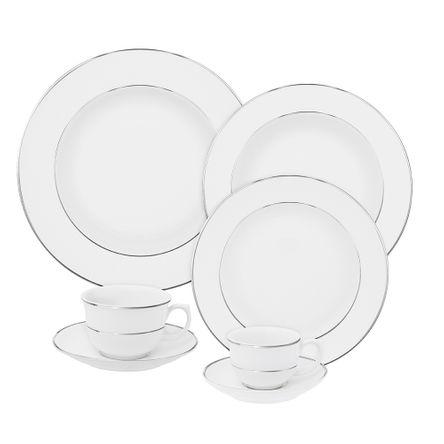 Aparelho Jantar/Chá/Cafezinho 42 Pcs - Branco - Flamingo - Filete Prata