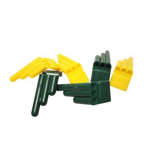 Apito 3 Furos Amarelo e Verde - Pacote com 20 Unidades