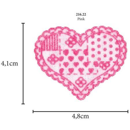 Aplicação Coração Patchwork Multicolor - 5 Unid. 216.22 - Pink