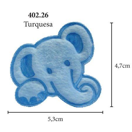 Aplicação Elefante Pelúcia - 5 Unid. 402.26 - Turquesa