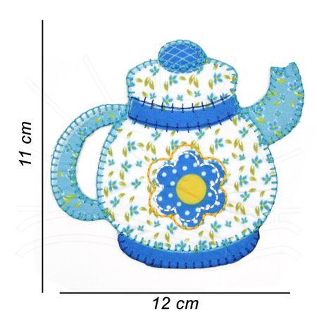 Aplicação Termocolante Brimon Bule Patchwork Azul - 3 Unid