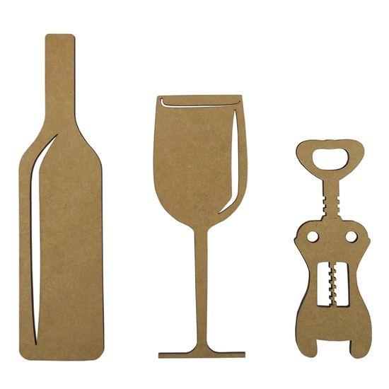 Aplique Acessórios para Vinho 25cm em MDF com 3 Peças - Palácio da Arte