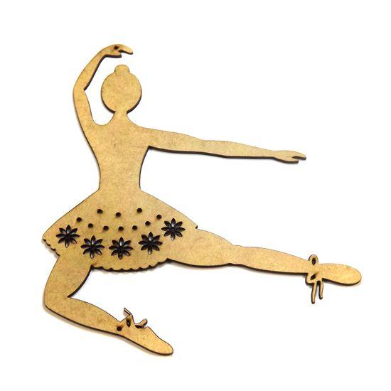 Aplique Bailarina Flores Saltando - MDF a Laser