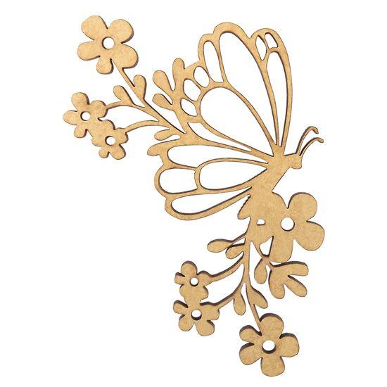 Aplique Borboleta Flores em MDF 13x8cm - Palácio da Arte