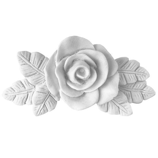 Aplique Cantoneira Rosa com Folhas Grandes 10,5x5,5x2cm - Resina