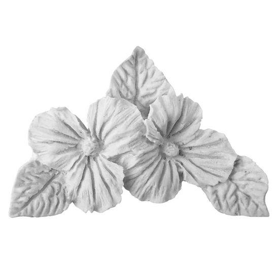 Aplique Cantoneira Violeta com 3 Folhas 8,7x5,5x2cm - Resina