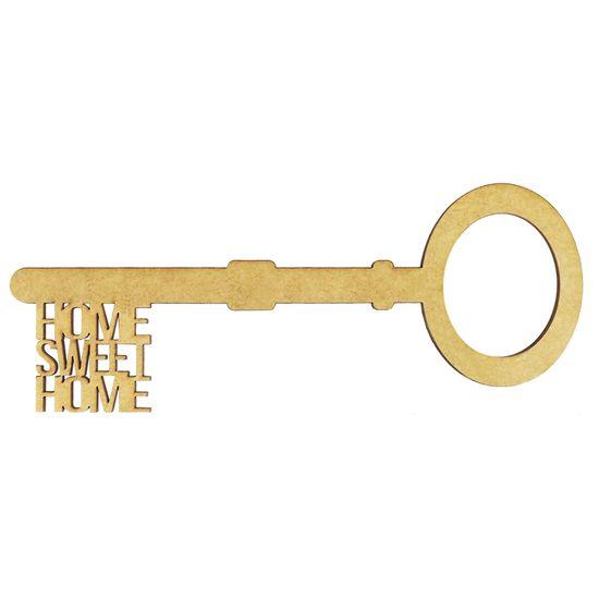 Aplique Chave Home Sweet Home em MDF 10x4cm - Palácio da Arte