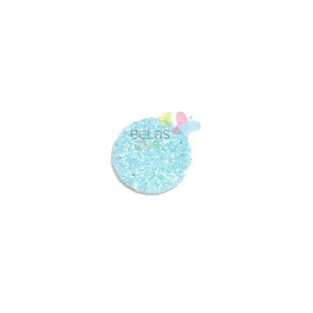 Aplique de EVA Bola Azul Claro Glitter - Tamanho G - 50 Unidades