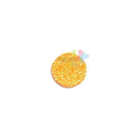 Aplique de EVA Bola Laranja Glitter - Tamanho PP - 50 Unidades