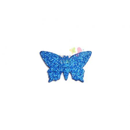 Aplique de EVA Borboleta Azul Royal Glitter - Tamanho G - 50 Unidades
