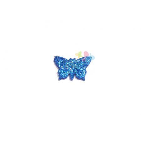 Aplique de EVA Borboleta Azul Royal Glitter - Tamanho PP - 50 Unidades