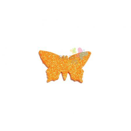 Aplique de EVA Borboleta Laranja Glitter - Tamanho G - 50 Unidades