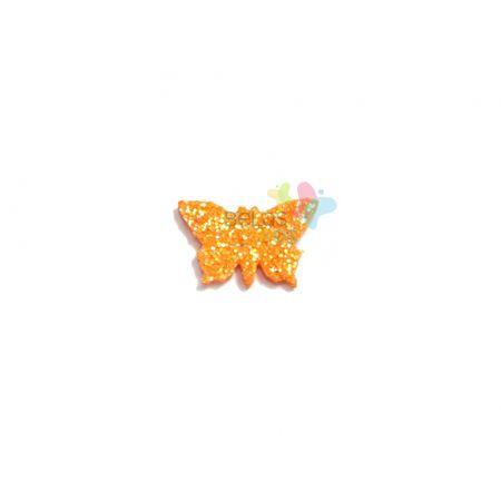Aplique de EVA Borboleta Laranja Glitter - Tamanho PP - 50 Unidades