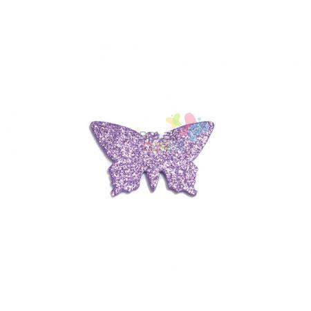Aplique de EVA Borboleta Lilás Glitter - Tamanho G - 50 Unidades